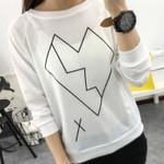 Long Sleeves O-neck  Line Pattern Broken Heart Print Sweatshirt