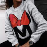 Letter Print O-Neck Casual Loose  Long Sleeve Sweatshirts