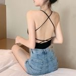 Crossed Straps Padding Sexy Slim Backless Tanks Top