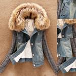 Slim Elegant Fur Collar Fashion Plush Fleece Short Denim Jacket