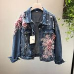Heavy Flower Embroidered Hole Denim Jackets