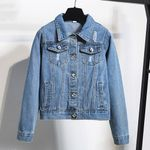 Basic Button Up Lady Casual Vintage Frayed Bomber Denim Jacket