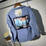 Frayed Letter Patch Bomber Ripped Denim Jacket