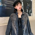 Women Rivet Tassel Chain  Denim Jacket