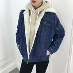 Loose Fleece Fashion Thick Lambs Wool Denim Jacket
