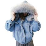Thick Jean Faux Fur Collar Fleece Hooded Denim Jacket