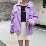 preppy style Bomber  loose Denim Jacket