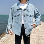 Coat Retro Cowboy Loose Casual Loose Long Sleeve Denim Jeans
