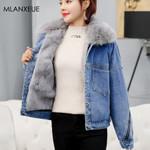 Loose Warm Fur Collar Cotton Liner Denim Jackets