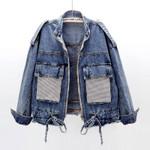 stand collar zipper diamond pocket denim jacket