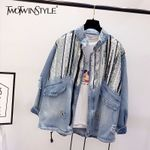 Long Sleeve Patchwork Sequins Camouflage Denim Jackets