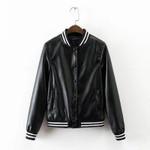 Textured Baseball PU Faux Leather Bomber Jacket