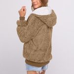 Casual Pocket Hooded Cardigan Sweater Faux fur jacket