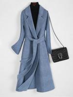 Female Korean Vintage Long  Double-side Woolen Coat