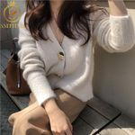 cardigans Thicken long sleeve single button knitted Sweater
