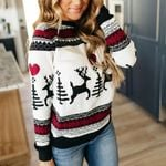 Long Sleeve  Printed Pullover Fashion Jumper Sweater