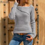 Long Sleeve Elasticity Pullovers  Fashion Knitted Sweater