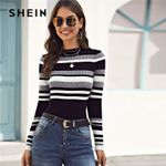 Stand Collar Striped Ribbed Knit Casual Sweater