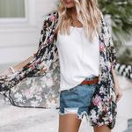 Floral Print Cover Up Fashion Half Sleeve Kimono