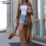Sexy Split Long Sleeve Casual Leopard Print Cardigan Fashion Kimono