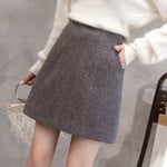 Slim Thickened Mini  High-waist Wool Skirt