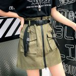 Pocket Sashes Short Tool A Line Zipper Half-length Skirt