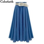 Pleated A-Line High Waist Fashion Casual Long Skirt