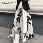 High Waist Elastic Long Elegant Print Split Skirt