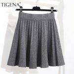 Fashion High Waist Pleated Knitted Warm Cotton Skirts