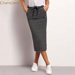 Pencil Sexy Waist Stripe Pocket Striped Casual Midi Skirts