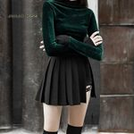 Pleated Mini Thigh Belt Punk Style Skirt