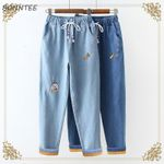 Cartoon Printed Elastic Waist Cute  Warm Jean