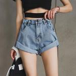 High Waist Wide Leg Vintage Denim Shorts