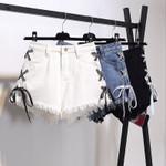 Lace Up Jeans Vintage Tassel Denim Shorts