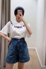 Casual Style High Waist Denim Thin Short