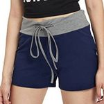 Elastic Waist Slim Casual Patchwork Drawstring Shorts