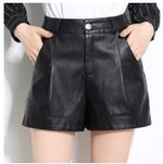 High Waist Wide Leg Pu Leather Shorts