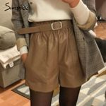 Vintage elastic high waist loose leather shorts