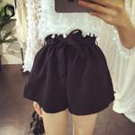High Waist Pockets Sashes Casual Loose Shorts
