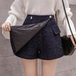 Fashion Empire Buttons Tweed Wide-legged Shorts