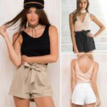 Casual High Waist Cotton Bow Loose Shorts