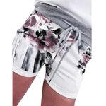 Casual Floral Print High Waist Bandage Drawstring Shorts