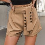 soft bottom Casual vintage sash belt shorts