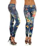 Fashion Pattern Skinny Stretchy Faux High Waist Seamless Leggings