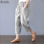 Elegant  Pockets  Casual Elastic Waist Cotton Linen Harem Pants