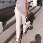 fashion Elegant High waist casual split pants