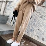 Casual Drawstring Twisted Knitted Thicken Harem Pants