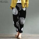 Vintage Dot Elastic Waist Printed Casual Linen Pants