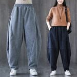 Harem Trousers Elastic Wide Leg Baggy Corduroy Pants