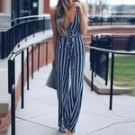 Chiffon Long Trousers Striped Jumpsuit